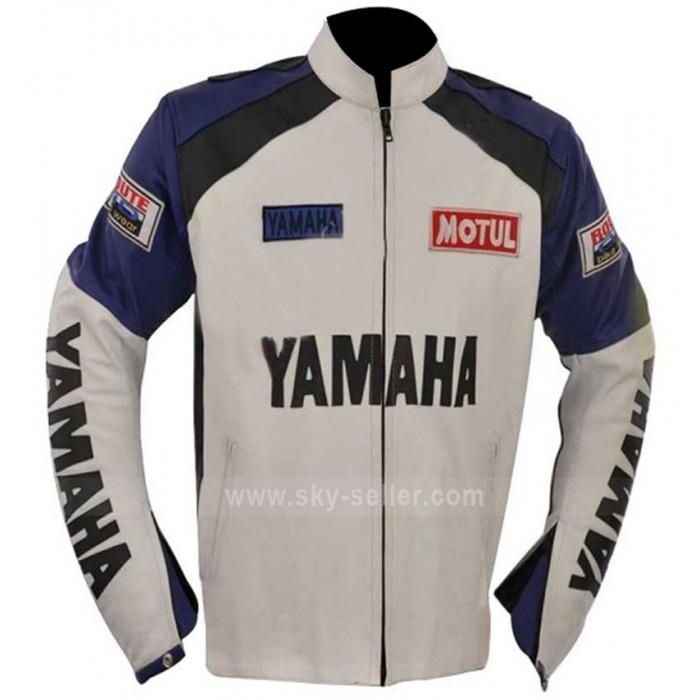 Classic Yamaha Motorcycles White and Blue Leather Jacket