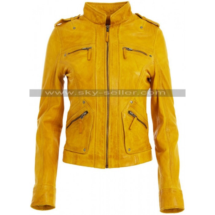 Women's Ralph Lauren Slimfit Yellow Leather Jacket