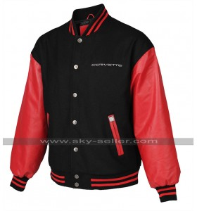 Mens Bomber Corvette Red And Black Varsity Letterman Jacket