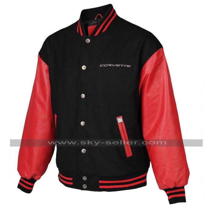 Mens Bomber Corvette Red And Black Varsity Letterman Jacket