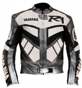 Yamaha R1 Motorcycle Racing Grey Real Biker Jacket