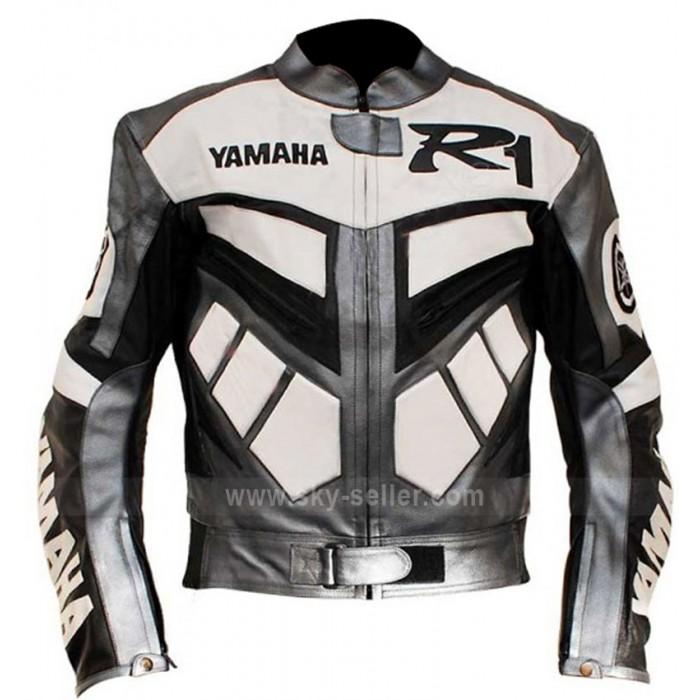 Yamaha R1 Motorcycle Racing Grey Real Biker Jacket