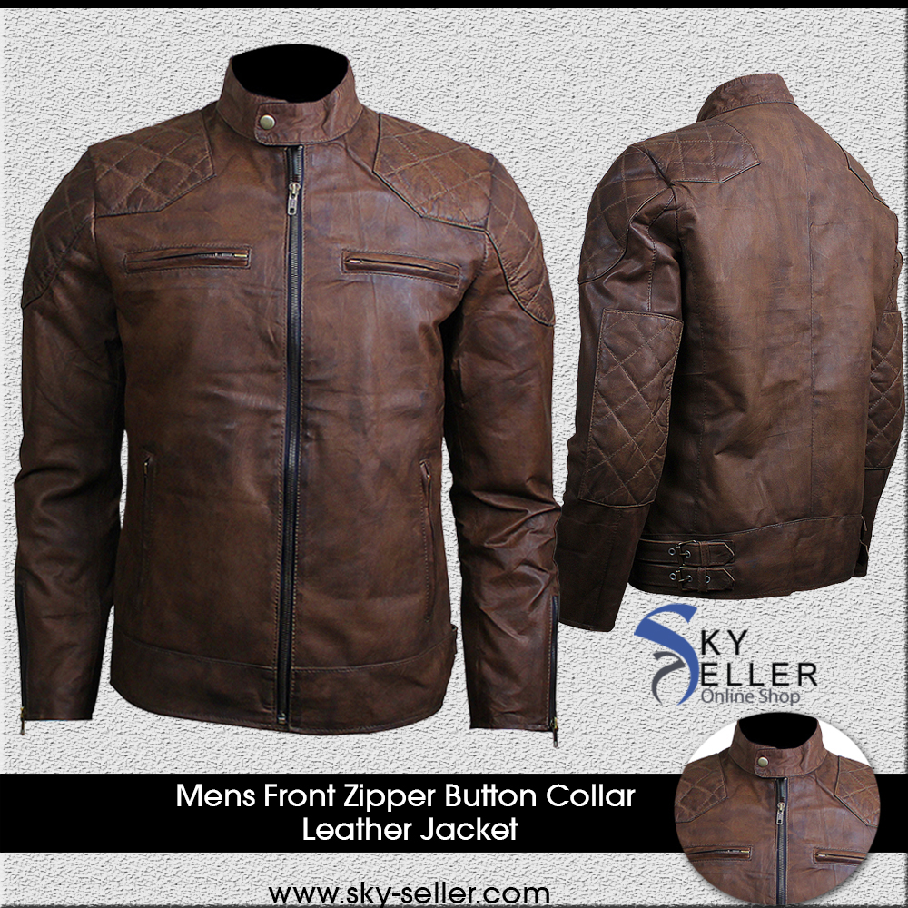 Mens Diamond Distressed Brown Vintage Motorcycle Leather Jacket