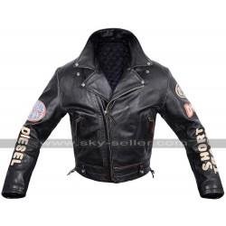 Diesel Vintage Pilot Flying Black Leather Jacket