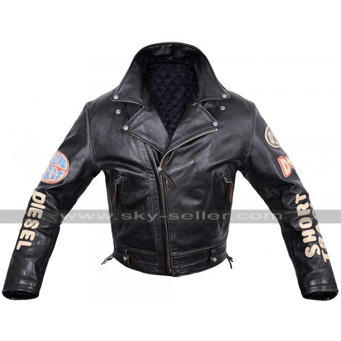 Diesel Vintage Pilot Flying Black Leather Jacket