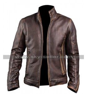 Cafe Racer Vintage Motorcycle Distressed Brown Leather Jacket