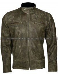 Cafe Racer Men's Distressed Wax Vintage Biker Jacket