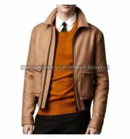 Double Flap Pockets Ribbed Waist Slimfit Biker Leather Jacket