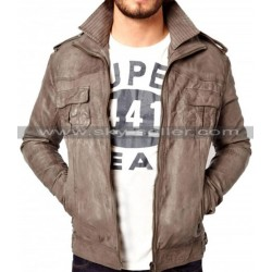 Men's Slimfit Double Layered Collar Leather Jacket
