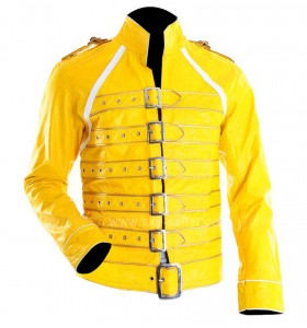 Concert Yellow Freddie Mercury Military Motorcycle Leather Jacket