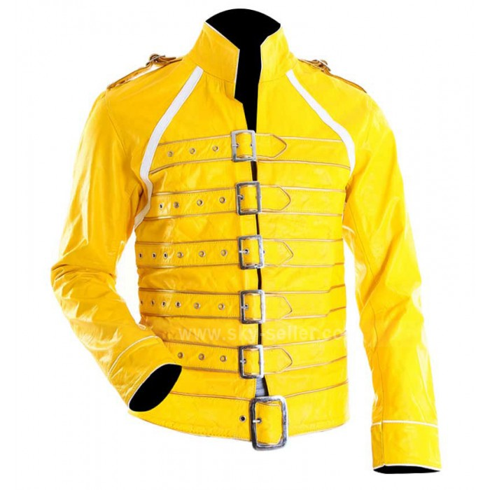 Concert Yellow Freddie Mercury Military Motorcycle Leather Jacket
