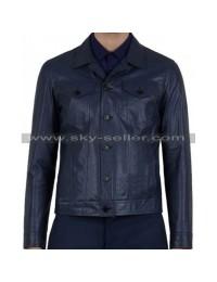 Slim Fit Men's Front Flap Pocket Blue Biker Jacket