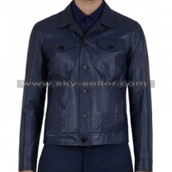 Slim Fit Men's Front Flap Pocket Blue Biker Jacket