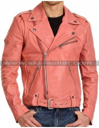 Double Breasted Studded Peach Slimfit Belted Biker Jacket
