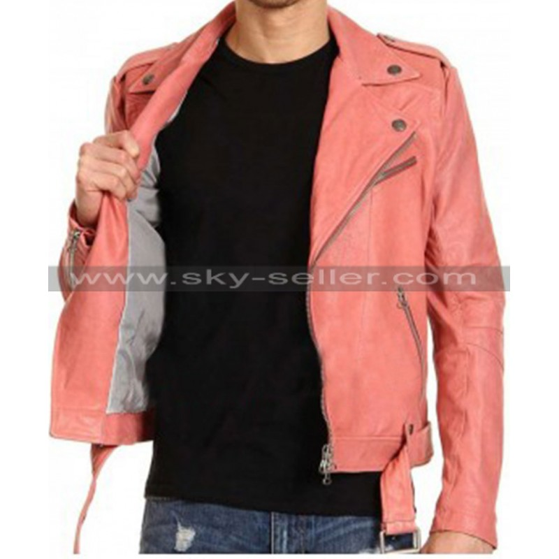 1ebe6ef869f Double Breasted Studded Peach Slimfit Belted Biker Jacket