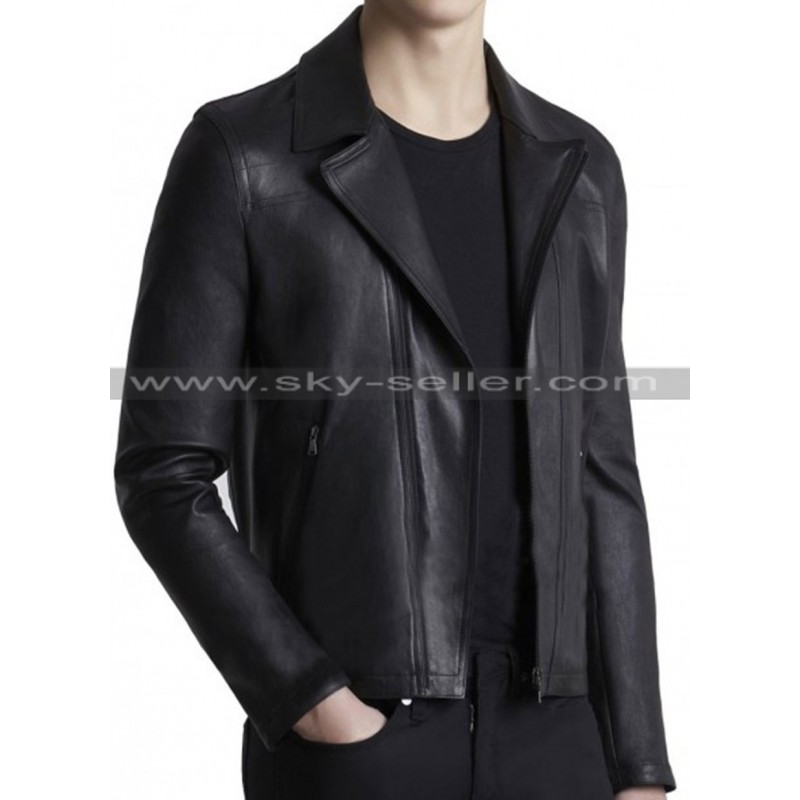 Fit Men's Black Waist Pockets Biker Leather Jacket