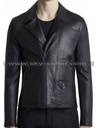 Slim Fit Men's Black Waist Pockets Biker Leather Jacket