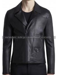 Slim Fit Men's Black Waist Pockets Biker Leather Jacket