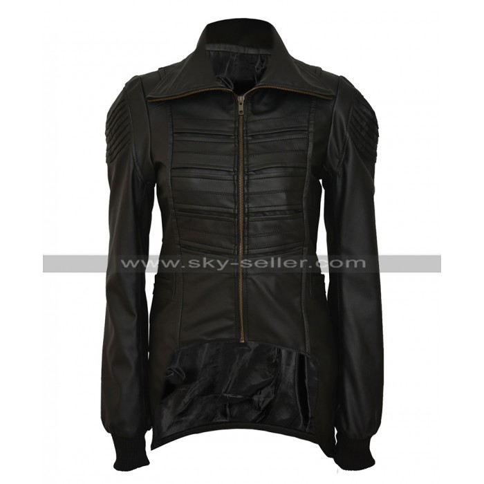 Catwoman Selina Kyle Gotham Camren Bicondova Black Biker Leather Jacket