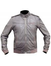 Designer Grey Bomber Cafe Racer Style Unisex Leather Jacket