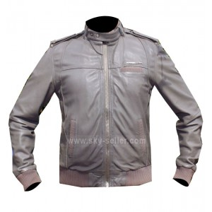 Designer Grey Bomber Cafe Racer Style Unisex Leather Jacket