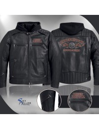 Harley Davidson Motorcycle Distressed Brown Leather Jacket