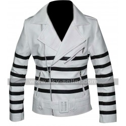 Katie Holmes Striped Biker Leather Jacket