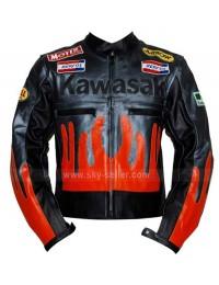 Motorcycle Kawasaki Black & Orange Biker Jacket