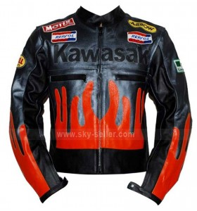 Motorcycle Kawasaki Black & Orange Biker Jacket