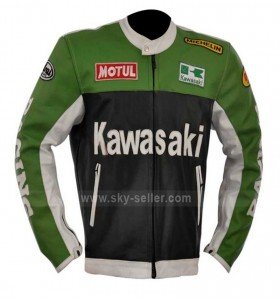Lime Green Black And White Kawasaki Motorcycle Leather Jacket