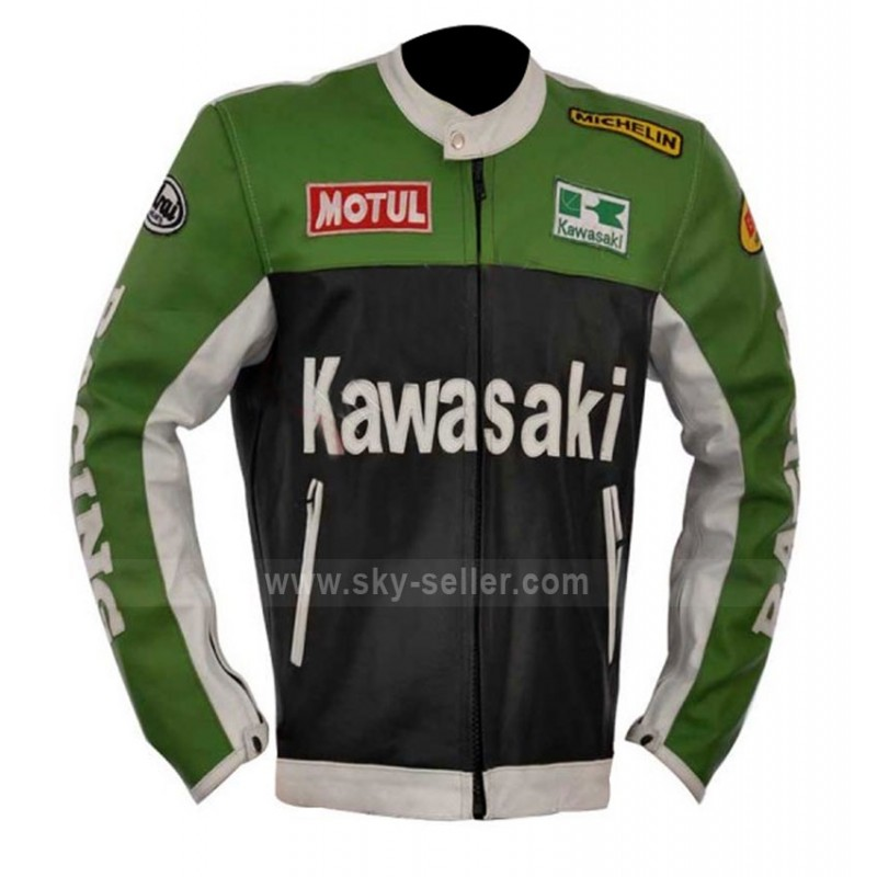 Green Black And White Kawasaki Motorcycle Leather Jacket