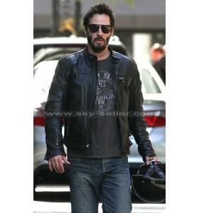 Keanu Reeves Black Motorcycle Leather Jacket