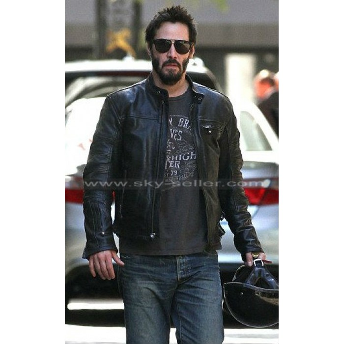 Keanu Reeves Black Motorcycle Leather Jacket