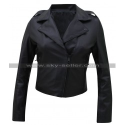 Kim Kardashian Black Leather Moto Jacket