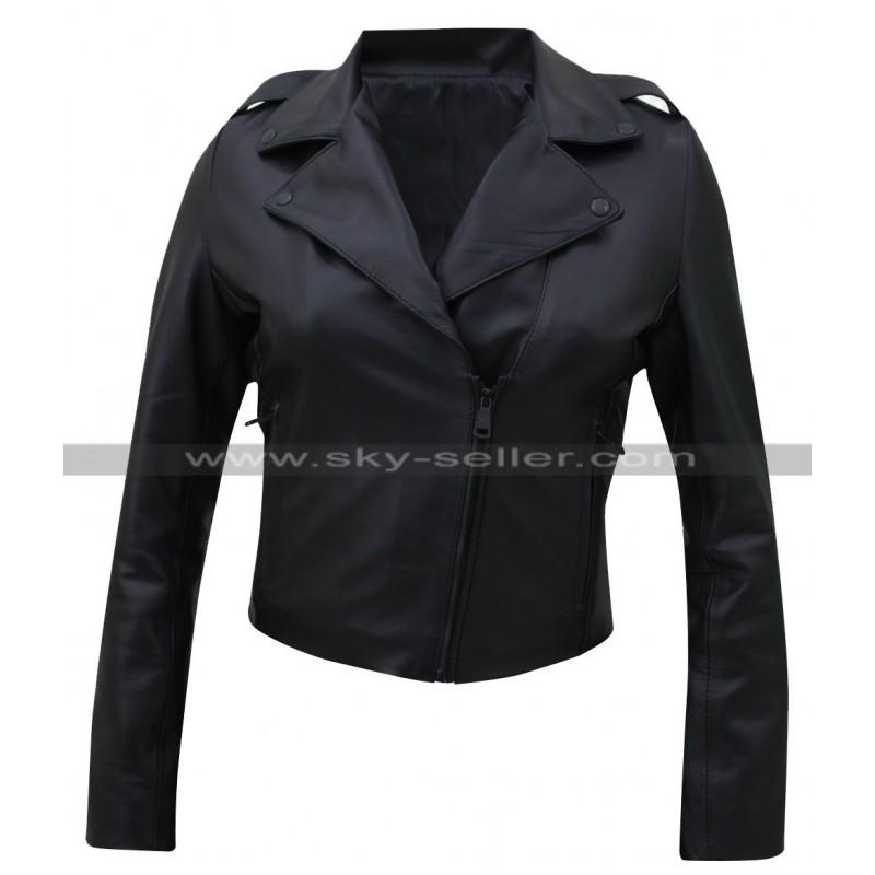 Kim Kardashian Black Leather Moto Jacket