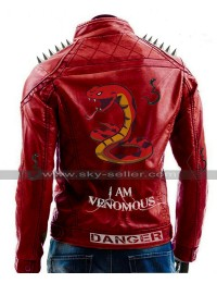 I Am Venomous Last Bite Snake Logo Danger Red Studded Biker Leather Jacket