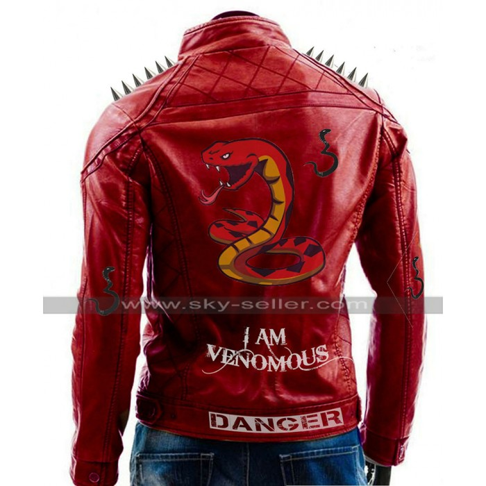 I Am Venomous Last Bite Snake Logo Danger Red Studded Biker Leather Jacket
