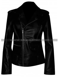 Mariah Carey Black Biker Style Motorcycle Leather Jacket