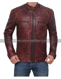 Men Motorcycle Racer Distressed Brown Leather Jacket