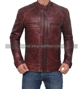 Men Motorcycle Racer Distressed Brown Leather Jacket