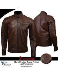 Men's Quilted Double Zipper Pocket Brown Biker Leather Jacket
