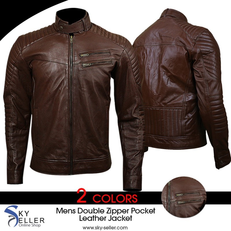 673a17f5e Men's Quilted Double Zipper Pocket Brown Biker Leather Jacket