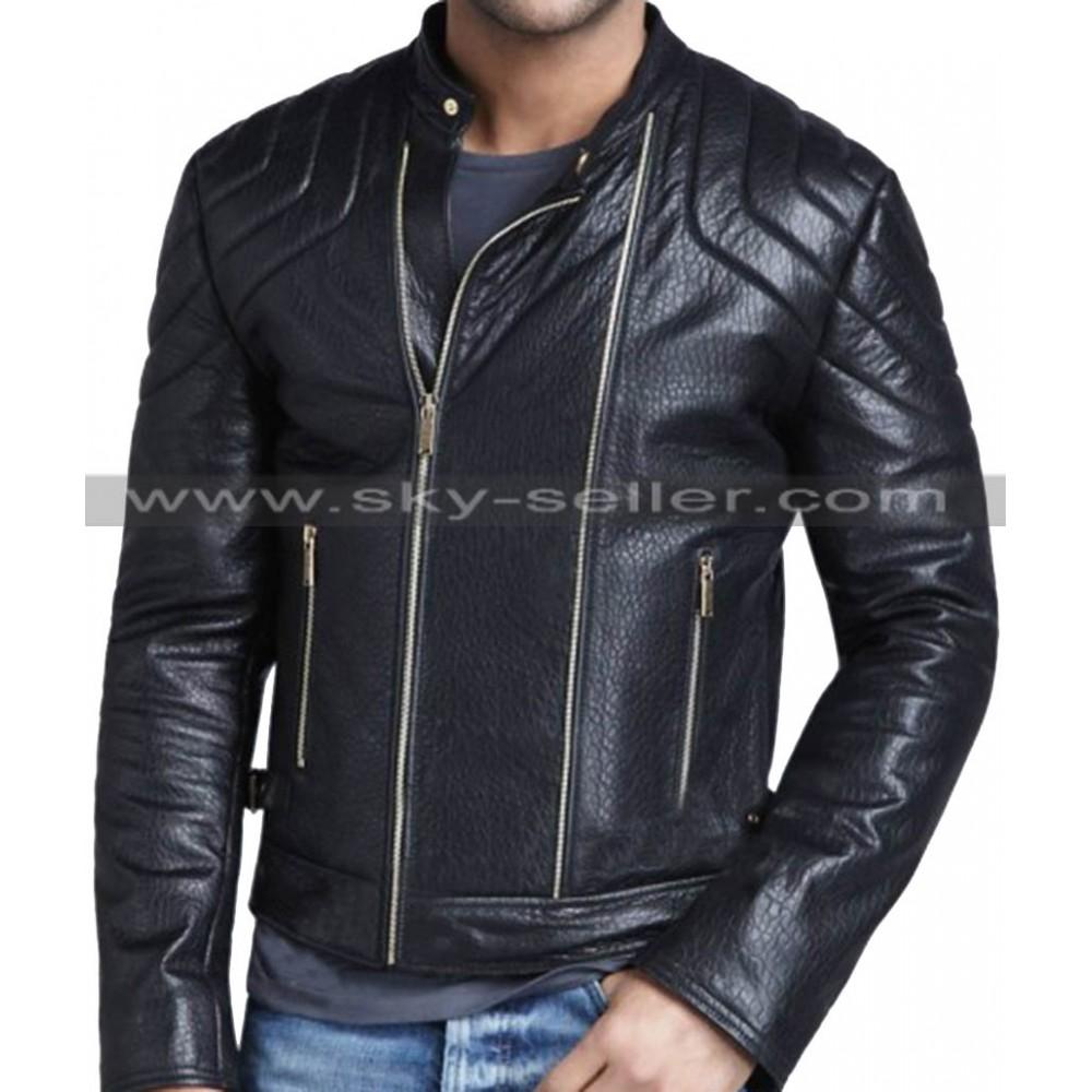 Quilted Shoulder Strapped Waist Slimfit Black Leather Jacket