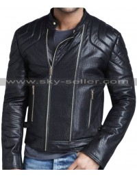 Quilted Shoulder Strapped Waist Slimfit Black Leather Jacket