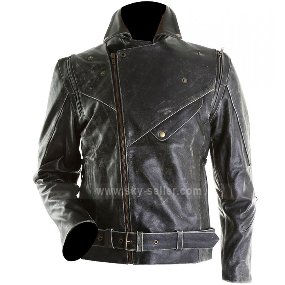 Distressed Leather Jacket For Men - Jacket