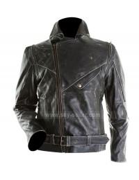 Men Distressed Slim Fit Black Biker Leather Jacket