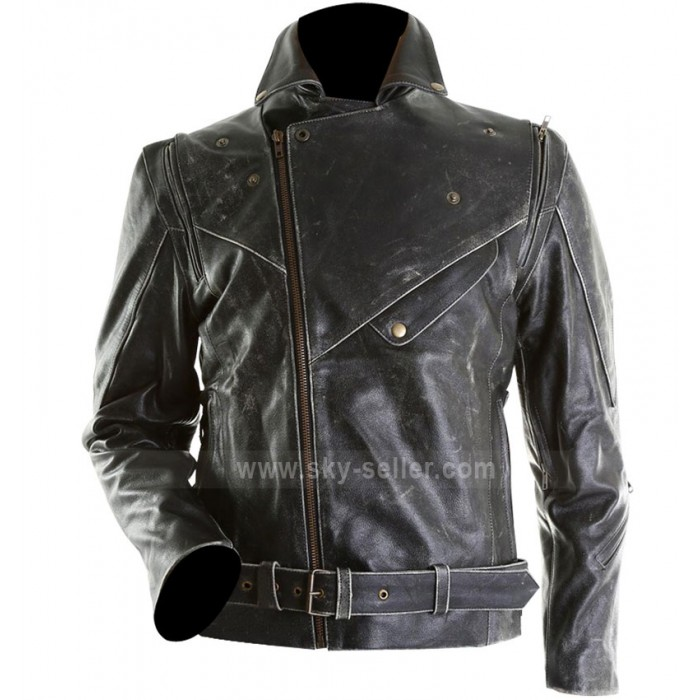 Men Distressed Slim Fit Black Biker Leather Jacket
