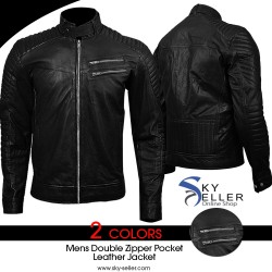 Double Zipper Pocket Men's Slimfit Quilted Biker Leather Jacket
