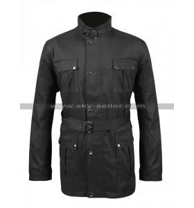 Mens 4 Pockets Belted High Collar Motorcycle Wax Cotton Jacket Biker Coat