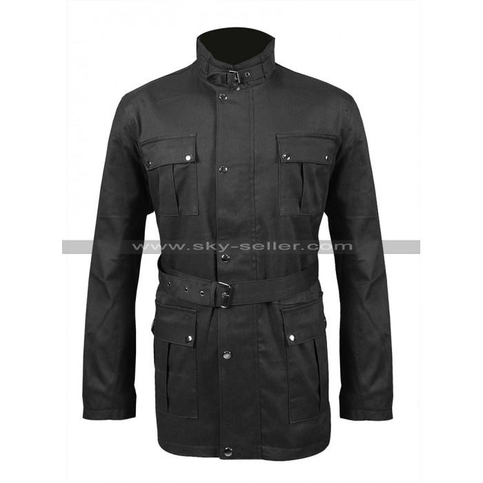 Mens 4 Pockets Belted High Collar Motorcycle Wax Cotton Jacket Biker Coat